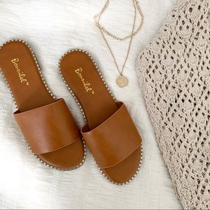 Tan Vegan Leather Studded Trim Silde Sandal